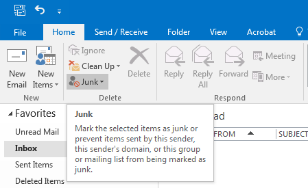 (Screen shot of where to find the Junk settings in Outlook).