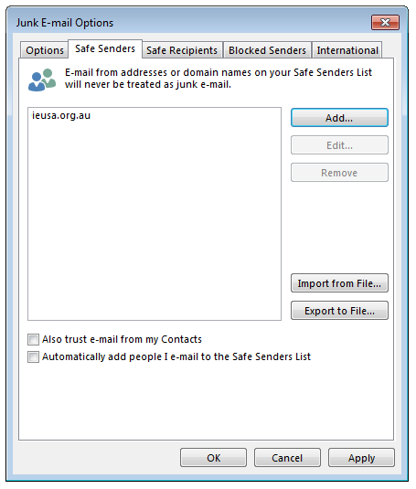 Junk Email Options - Safe Senders List - screenshot